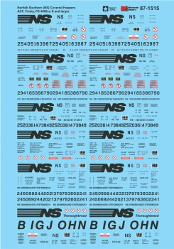 Micro Scale HO Railroad Decal Set NS ACF, Trinity, PS Covered Hoppers, LIST PRICE $8.25