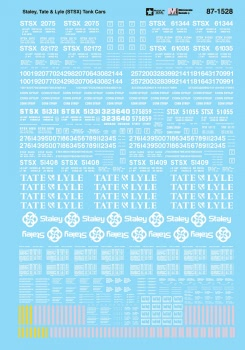 Micro Scale HO Railroad Decal Set Staley Tate & Lyle (STSX) Tank Cars, LIST PRICE $8.25