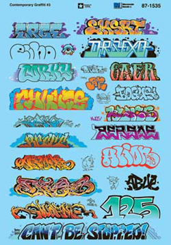 Micro Scale HO Graffiti Decal Set Contemporary Graffiti Set 3, LIST PRICE $10.75