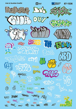 Micro Scale HO Graffiti Decal Set Irish and Scottish Graffiti, LIST PRICE $10.75