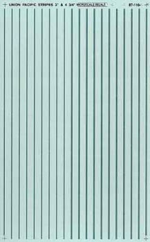 "Micro Scale HO Stripes 3&4.75"" silver, LIST PRICE $7.25"