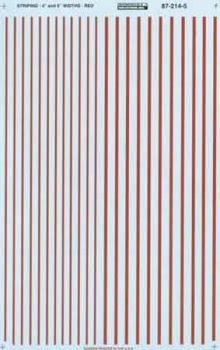 "Micro Scale HO Stripes 4 & 6"" Width Red, LIST PRICE $7.25"