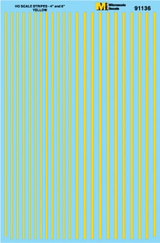 "Micro Scale HO Stripes 4 & 6"" Wide Yellw, LIST PRICE $7.25"