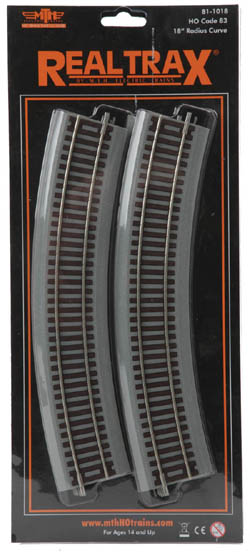 "MTH HO Mikes Train House HO Code 83 RealTrax 18"" Radius Curve (4), LIST PRICE $7.29"