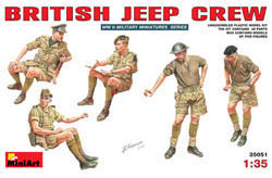 MINI ART MODELS 1/35 British Jeep Crew 5 Fig, LIST PRICE $17.25