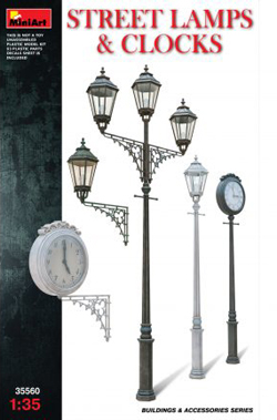 MINI ART MODELS Asst Street Lamps Clocks 1:35, LIST PRICE $24.99