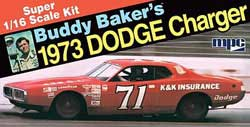 MPC BUDDY BAKER '73 CHARGER 1:16, LIST PRICE $46.19