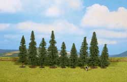 "Noch A Fir Trees -- 3-1/8 - 4-3/4""  8 - 12cm Tall pkg(9), LIST PRICE $29.99"
