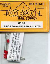 "Oregon Rail LEDs 1/8"" red         6pk, LIST PRICE $3.95"