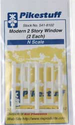 Pikestuff N Modern 2 Story Windows (2 each), LIST PRICE $3.25