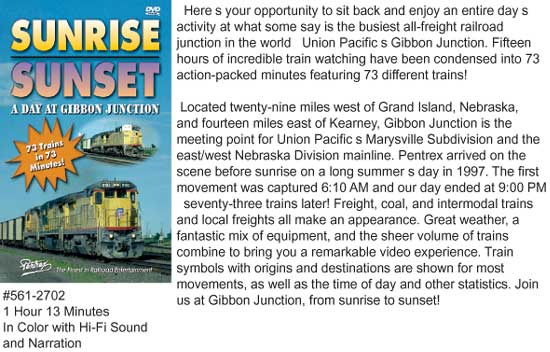 Pentrex Sunrise/Sunset Gibbon Jct  DVD, LIST PRICE $29.95