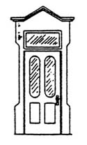 Scale Structures HO 2-lite door w/transom  2/, LIST PRICE $8.99