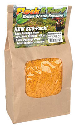 Scenic Express Flock & Turf Ground Cover ECO Bag Aspen Yellow Coarse 48oz, LIST PRICE $8.98