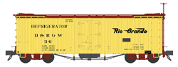 Sound Traxx / Black Stone HOn3 D&RGW 30ft Refrigerator Cars Flying Grande Herald, DUE 8/30/2018, LIST PRICE $64.95