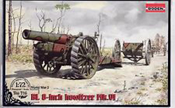Roden Plastic Kits Bl 8in Howitzer Mk.V1 Gun 1:72, LIST PRICE $19