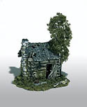 Woodland Scenics ABANDONED LOG CABIN MINI SCENE, LIST PRICE $23.99