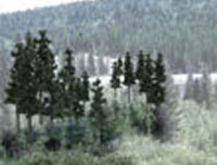 "Woodland Scenics 2 1/2 4"" RM REAL PINE 33/PK, LIST PRICE $35.99"