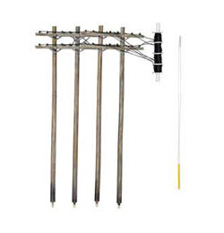Woodland HO WIRED POLES DOUBLE CROSSBAR, LIST PRICE $24.99