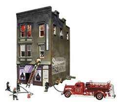 Woodland HO Bettys Burning Building, LIST PRICE $94.99