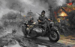 Zvezda Model Kits 1/35 GERM MOTORCYCLE r12 W/Sidecar & Crew, NT, LIST PRICE $21