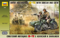 Zvezda Model Kits 1/35 Soviet Motorcycle with Sidecar, New Tooling, LIST PRICE $22