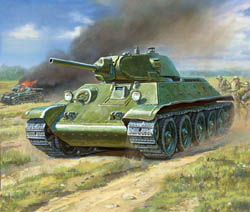 Zvezda Model Kits 1/100 Soviet Tank T-34/76 Snap, New Tool, LIST PRICE $5.5