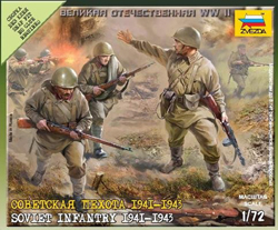 Zvezda Model Kits 1/72 Soviet Infantry 1941, New Tooling, LIST PRICE $5