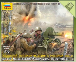 Zvezda Model Kits 1/72 Soviet Machine Gun Crew '41, New Tooling, LIST PRICE $5.5