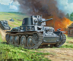 Zvezda Model Kits 1/100 German 38t Tank, Snap Kit New Tooling, LIST PRICE $5.5