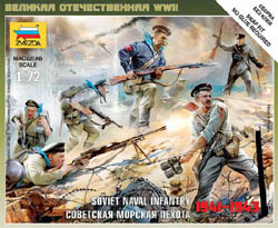 Zvezda Model Kits 1/72 Soviet Naval Infantry WWII NT, Snap Kit, LIST PRICE $5.5