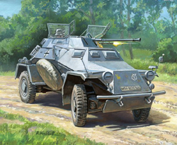 Zvezda Model Kits 1/100 Sd.Kfz.222 German Recon Armored Car, Snap, LIST PRICE $5.5
