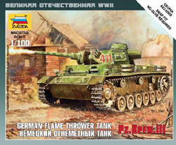 Zvezda Model Kits 1/100 Panzer III Flamethrower Tank Snap Kit, LIST PRICE $5.5