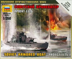 Zvezda Model Kits SOVIET ARMORED BOAT 1:350, LIST PRICE $4.89