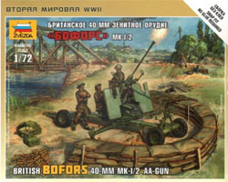Zvezda Model Kits BRITISH BOFORS 40mm AA-GUN :72, LIST PRICE $12