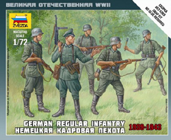 Zvezda Model Kits 1/72 German Regular Infantry '39-43 Snap Kit, LIST PRICE $5.5