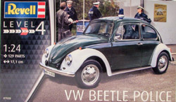 Revell - Germany Revell VW Beetle Police 1:24 129 Parts Level 4, LIST PRICE $34.95
