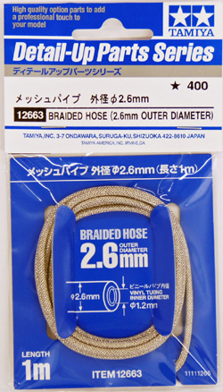 Tamiya Braided Hose Outer Dia 2.6mm, LIST PRICE $6.5