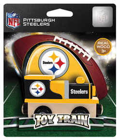 Train Enthusiast  Football Team Wooden Engine Pittsburgh Steelers, DUE 9/19/2019, LIST PRICE $11.99