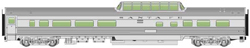 Walthers Mainline HO 85' Budd Dome Coach RTR Santa Fe silver, LIST PRICE $39.98