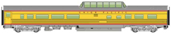Walthers Mainline HO 85' Budd Dome Coach RTR Union Pacific Armour Yellow, DUE 9/28/2018, LIST PRICE $39.98