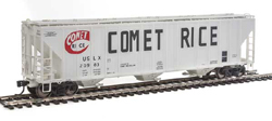 Proto by Walthers HO 55' Evans 4780 CuFt 3-Bay Cvrd Hpr Comet Rice 20983, LIST PRICE $37.98