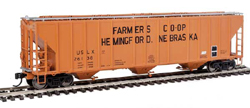 Proto by Walthers HO 55' Evans 4780 CuFt 3-Bay Cvrd Hpr Fmers Coop 26138, LIST PRICE $37.98