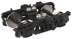 """Proto by Walthers HO Pass Trks w/36"""" Whls 1Pr MILW Nystrom 8' w/Clasp Brk Blk, LIST PRICE $14.98"""