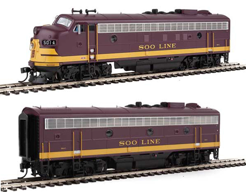 Proto by Walthers HO EMD FP7 2 pc Set Soo Line maroon #501A, 501C Snd, DUE 12/30/2020, LIST PRICE $549.98