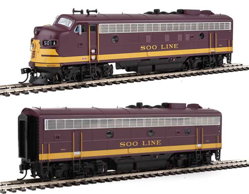 Proto by Walthers HO EMD FP7 2 pc Set Soo Line maroon #501A, 501C , DUE 12/30/2020, LIST PRICE $369.98