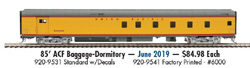 Proto by Walthers HO 85' ACF Bge-Dorm UP City of Los Angeles decals, DUE 6/28/2019, LIST PRICE $84.98