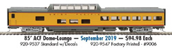 Proto by Walthers HO 85' ACF Dome-Lng UP City of Los Angeles  decals, DUE 9/28/2019, LIST PRICE $94.98