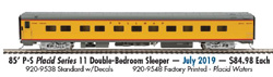 Proto by Walthers HO 85' PS Placid Srs 11 Dble-BR Slpr UP City of LA decals, LIST PRICE $84.98