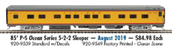 Proto by Walthers HO 85' PS Ocean Srs 5-2-2 Slpr UP City of LA decals, LIST PRICE $84.98