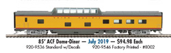 Proto by Walthers HO 85' ACF Dome-Dnr UP 8002 City of Los Angeles, DUE 7/28/2019, LIST PRICE $94.98